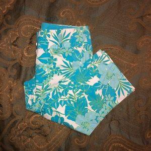 Palm flower leaf Capri khakis